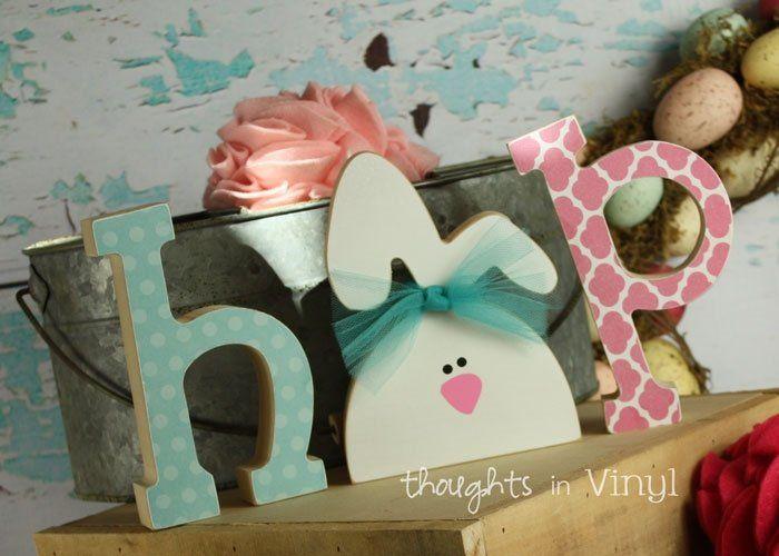 Easter Bunny Wooden Door Hanger