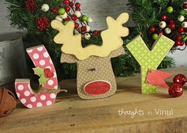 Joy Wooden Letters Christmas Rudolph crafts