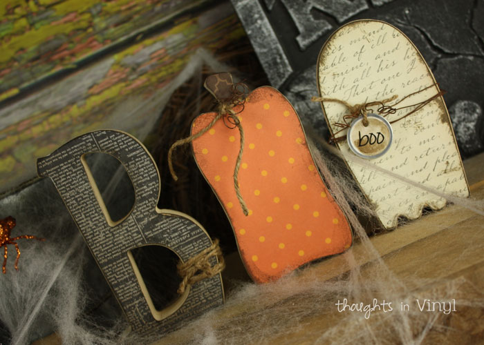 Wood halloween crafts thoughts in vinyl for Wooden letters for crafts