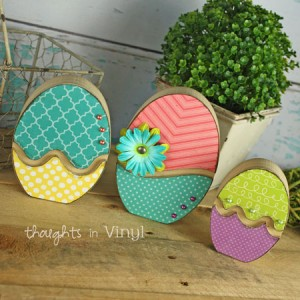 Easter crafts wood letters and shapes thoughts in vinyl for Wooden eggs for crafts