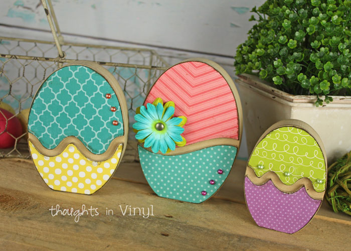 Wood easter crafts thoughts in vinyl for Wooden eggs for crafts