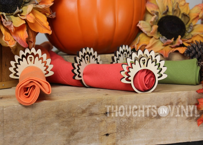 wooden turkey napkin rings
