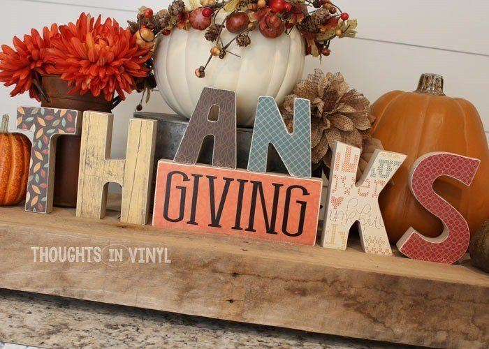 Thanksgiving Wood Letters