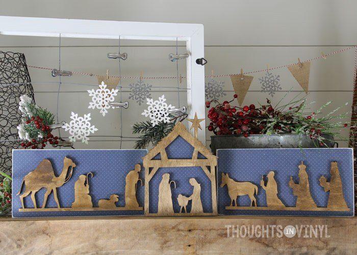 Wooden Nativity Silhouette