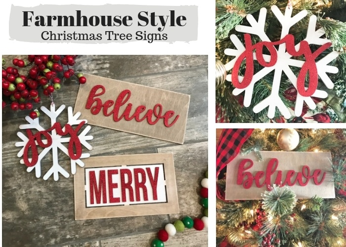 Farmhouse Style Christmas Tree Ornament Signs