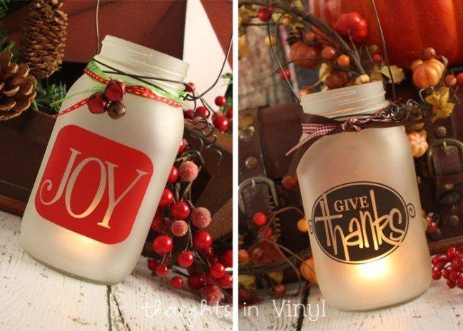 Christmas Mason Jar Decals
