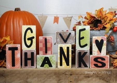 Reversible Holiday Blocks Give Thanks Leaves
