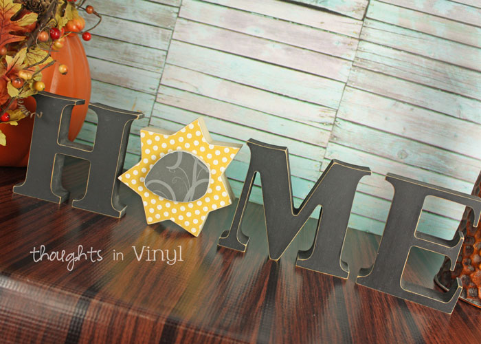 interchangeable Home wooden letters / sunflower