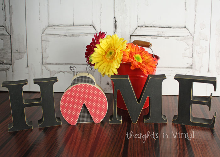 wooden home letters - ladybug